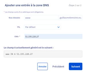 Ajout DNS Type A