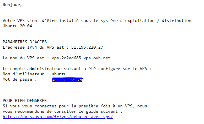 Confirmation Mail VPS OVH