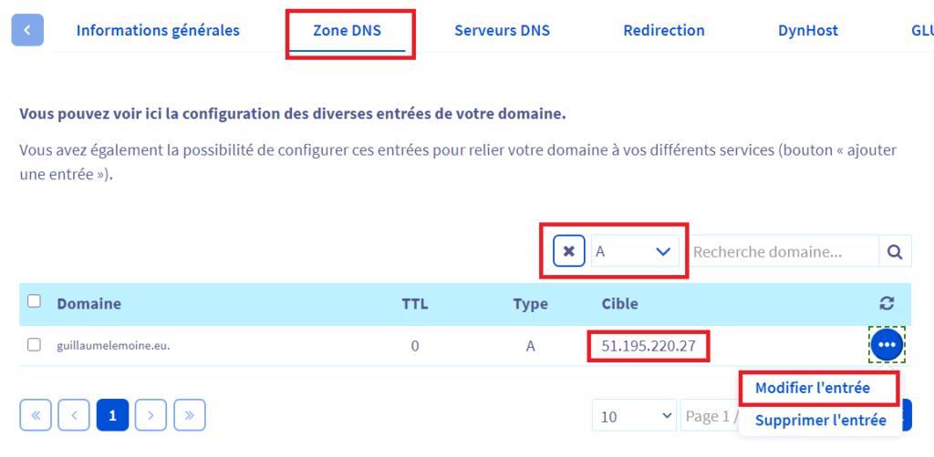 Zone DNS Type A